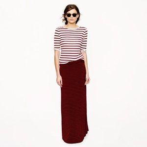 J. Crew Jersey Maxi Dress Skirt Red Blue Stripe M